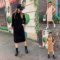 Модное женское спортивное платье худи с капюшоном и карманами в расцветках, размеры 42 - 52