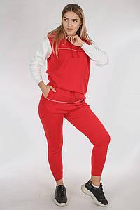 Стильний костюм-двійка з капюшоном - червоний колір, L