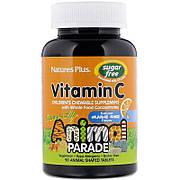 Витамин С для Детей без Сахара, Вкус Апельсина, Animal Parade, Natures Plus, 90 жевательных таблеток