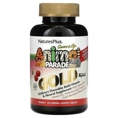 Мультивитамины для Детей, Вкус Вишни, Animal Parade Gold, Natures Plus, 120 жевательных таблеток, фото 2