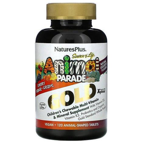 Мультивитамины для Детей, Вкус Ассорти, Animal Parade Gold, Natures Plus, 120 жевательных таблеток, фото 2