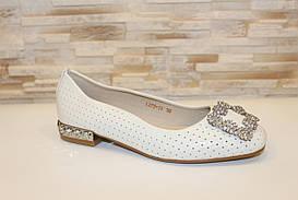 Туфли балетки женские бежевые с пряжкой Т089