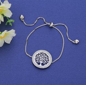 Браслет жіночий сріблястий з підвіскою Древо життя 1513 код
