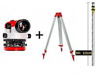 НАБОР ГЕОДЕЗИСТА Нивелир оптический INTERTOOL MT-3010 + рейка геодезическая 3 м+ штатив