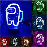 3D Ночник Игрушка Among us 7 цветов + пульт.Ночник детский Амонг ас.Светильник детский.Игрушка для детей.