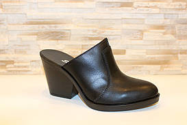 Шлепанцы сабо женские черные на каблуке натуральная кожа Б349