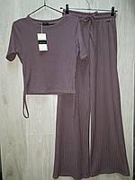 Женский брючный костюм рубчик двойка фиолетовый с коротким рукавом, одежда от производителя XS/S, M/L