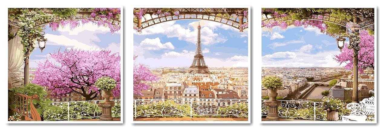 Картина по номерам Триптих Весенний Париж 50х150 см.