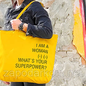Эко сумка Market MAXI I am a woman What`s your superpower?