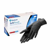 Размер М! Перчатки Medicom (Медиком), чёрные нитриловые, 3,6г