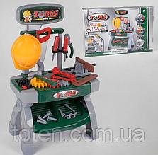 Набор детских инструментов 008-81 в коробке, Столик, шурупы, гайки, каска, молоток и тд. Т