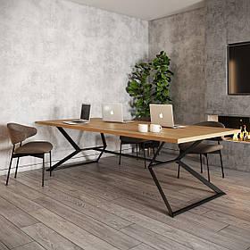 Стол обеденный Кредо каркас черный бархат, столешница ДСП Вествуд 1600*1000 мм (Металл дизайн)