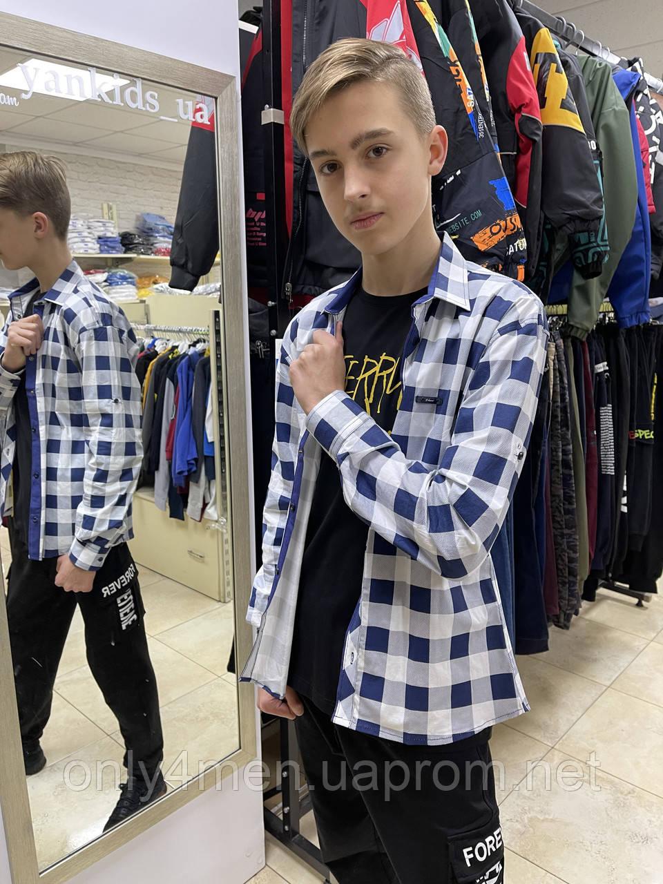 Рубашка  клетка на кнопке подросток 11-16лет