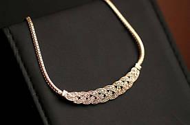 Ланцюжок жіноча з кристалами золотиста код 760
