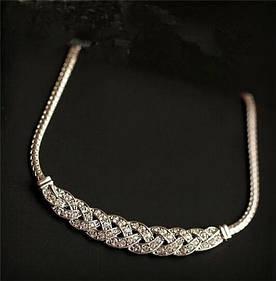 Ланцюжок жіноча з кристалами срібляста код 760