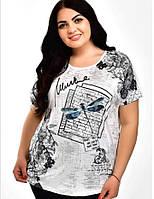 Удобная батальная удлиненная женская футболка с принтом, повседневная женская одежда больших размеров