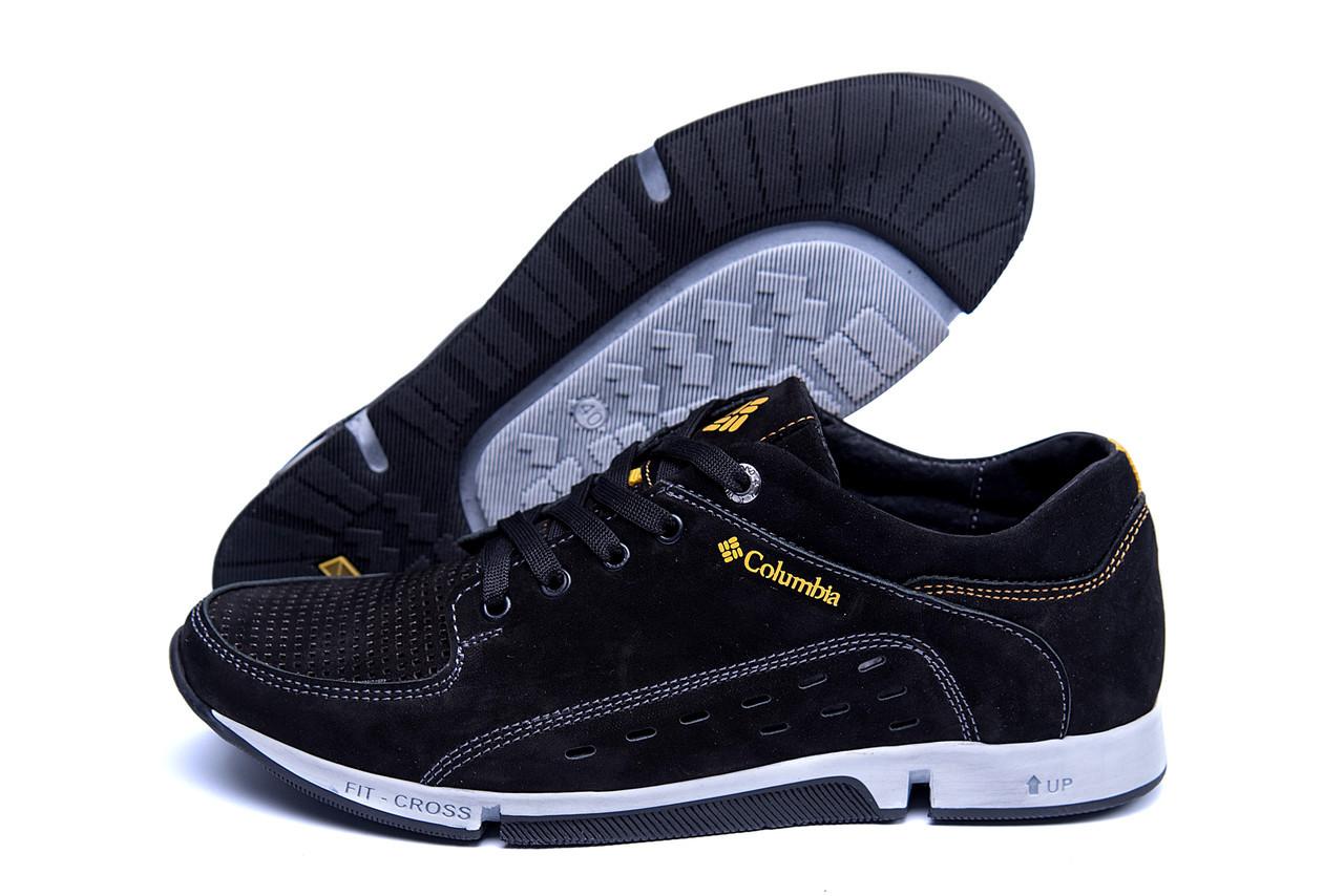 Літні чоловічі кросівки чорного кольору з перфорацією чорні Columbia Black (репліка)