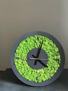 Дизайнерські годинники настінні із стабілізованого моху в сірій рамі з дерева 25 см . /Годинник з моху