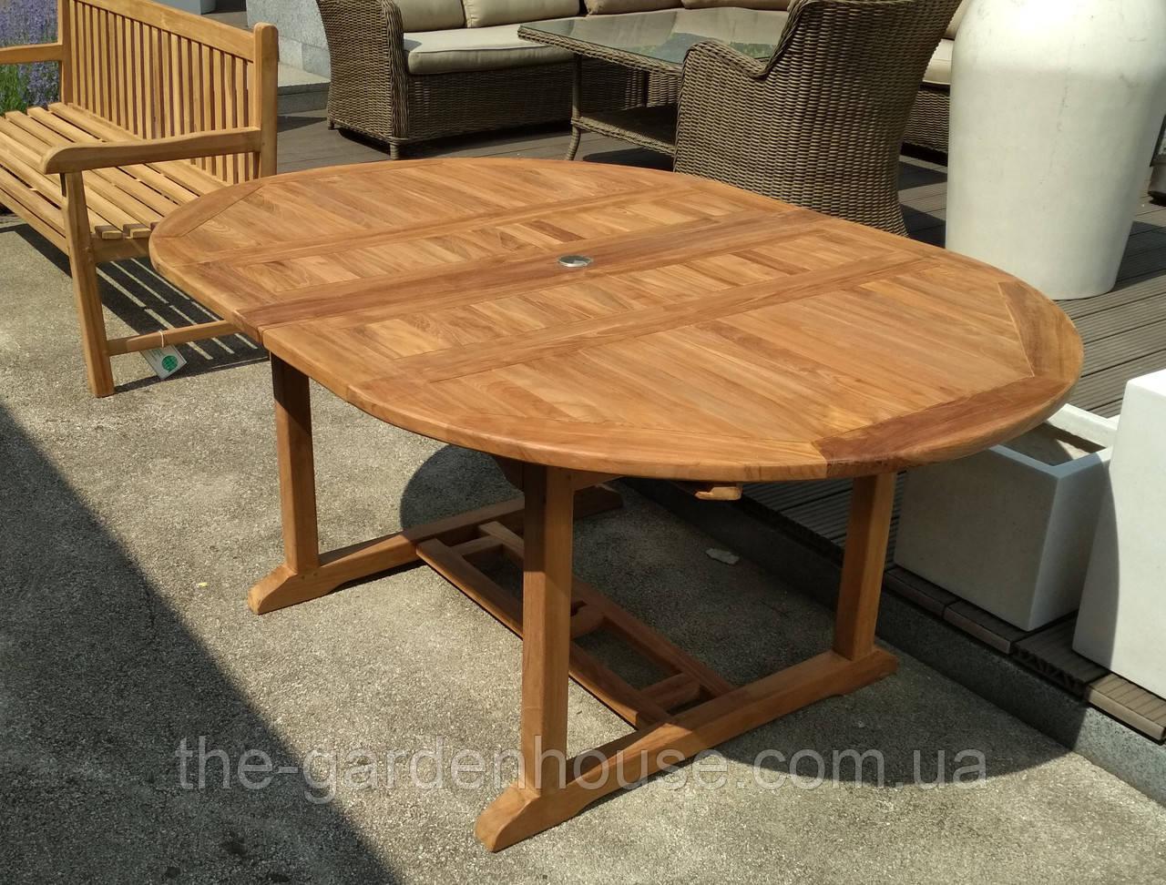 Обеденный садовый стол GIORGY из тикового дерева раскладной 120/170*120 см