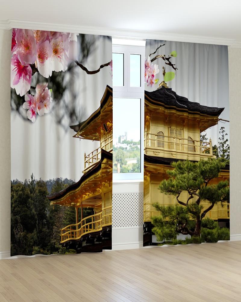 Фото штори китайський жовтий будинок