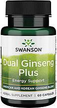 Свансон Двойной женьшень плюс бодрящая формула США Swanson Dual Ginseng Plus USA  60 капсул