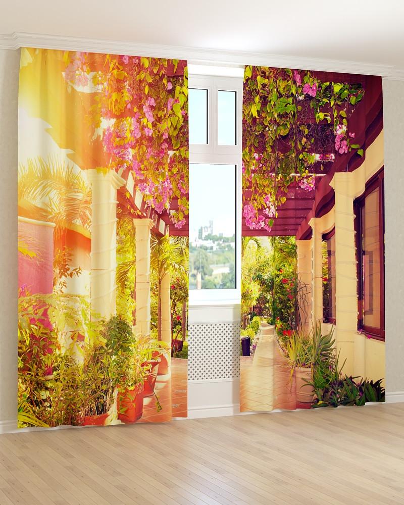Фото штори квіткова тераса