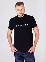Футболка мужская летняя FRIENDS черная | Мужская футболка хлопковая приталенная ЛЮКС качества