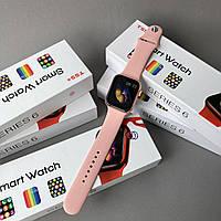 Умные смарт часы с пульсометром Watch 6 T55+ plus smart watch Rose Gold