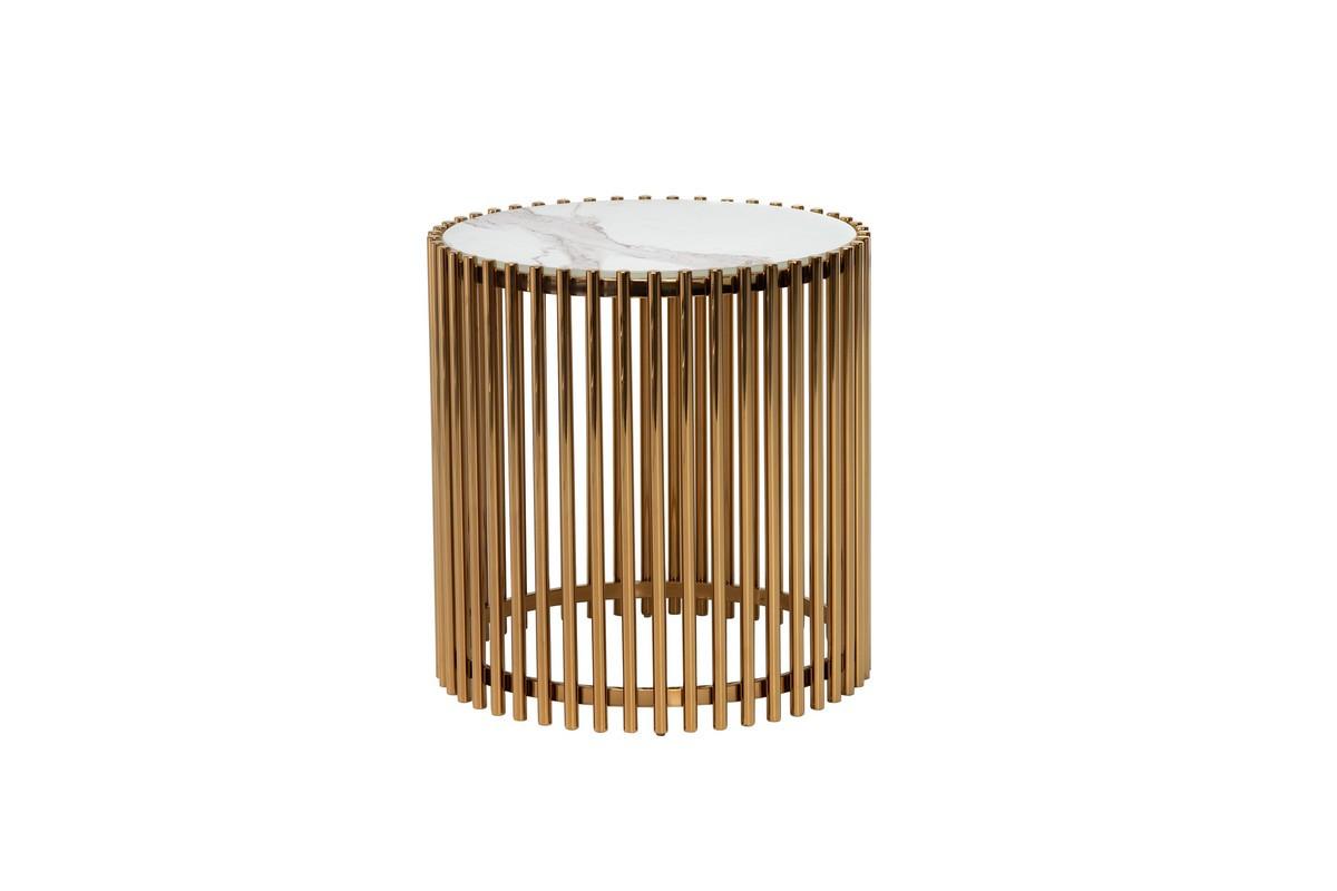 Журнальний стіл CJ-1 білий мармур + золото