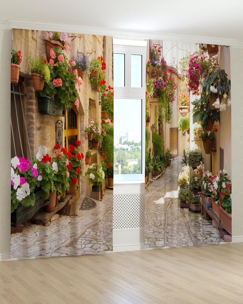 Фото шторы улица в цветах 3Д
