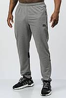 Спортивные штаны мужские прямые со вставками тонкие (весна-лето-осень) средне-серые