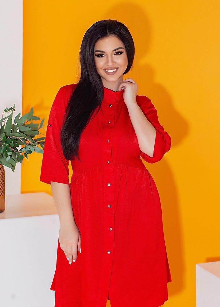 Платье рубашка в больших размерах с рукавом 3/4 и завязкой на спине летнее (р. 50-56) 11538