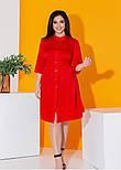 Платье рубашка в больших размерах с рукавом 3/4 и завязкой на спине летнее (р. 50-56) 11538, фото 5