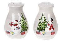 Набор для специй керамический: солонка и перечница Веселые снеговики