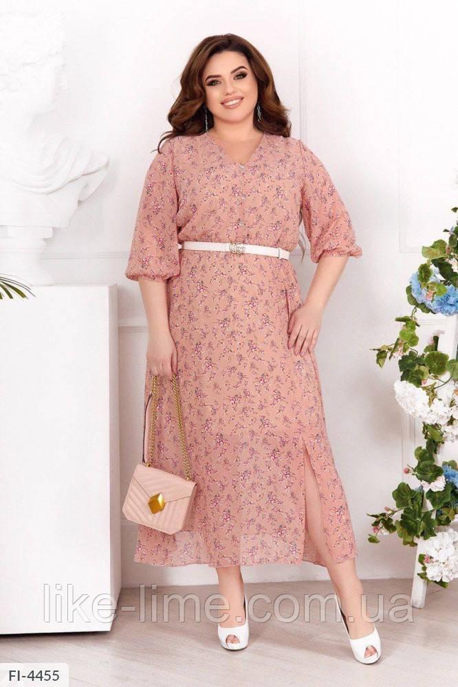 Женское красиое шифоновое платье больших размеров