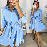 Женское весеннее платье летнее жатка с поясом голубое лиловое олива серый пудра 42-44 46-48 на пуговицах хит