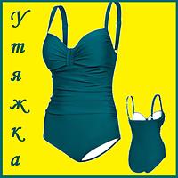 Классический женский купальник темно зеленый цвет утягивающий слитный 44 Aqua Speed