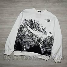Мужской Свитшот кофта в стиле The North Face белый с рисунком гор Слегка Утеплена