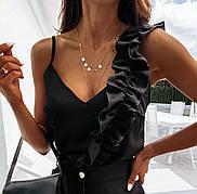 Майка с рюшей черная блуза нарядная летняя