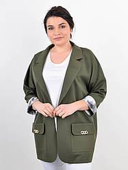 Элегантный женский пиджак Бель на полную фигуру, олива
