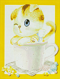 "Алмазна мозаїка 3D з номерами 40*50см ""Кошеня в чашці"" 005"