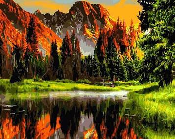 Картини за номерами 40х50 см Brushme Захід у гірській долині (GX 3348)