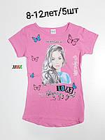 Подростковая трикотажная футболка для девочки Love размер 8-12 лет, цвет уточняйте при заказе, фото 1