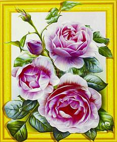 """Алмазна мозаїка 3D з номерами 40*50см """"Рожеві троянди""""019"""