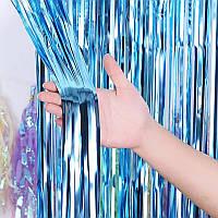 Шторка фольгированная для фотозоны голубая 1х2м