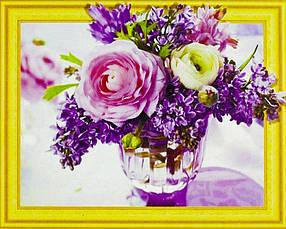 """Алмазна мозаїка 3D з номерами 40*50см """"Ніжні квіти""""021"""
