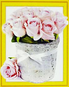 """Алмазна мозаїка 3D з номерами 40*50см """"Прекрасні троянди""""022"""