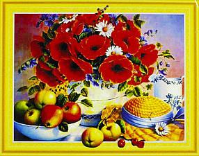"""Алмазна мозаїка 3D з номерами 40*50см """"Букет квітів та фруктів""""016"""