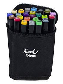 Набір скетч маркерів двуст-них, скошений круглий наконечник, 24 кольорів