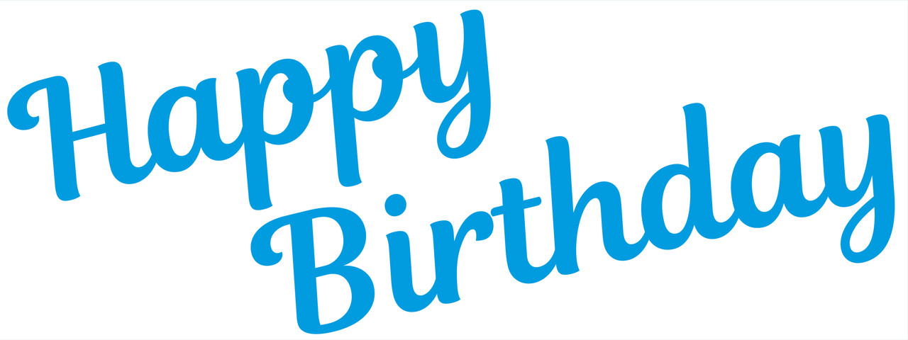 """Наклейка на коробку-сюрприз """"Happy Birthday(2)"""" блакитна 50х20 см."""